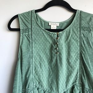 Army green tank top blouse